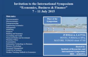 """Kvietimas į tarptautinį simpoziumą """"Ekonomika, verslas ir finansai"""" Latvijoje"""